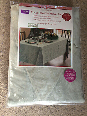 """Tablecloth with Napkin Set (6) Oblong Jacquard Weave Gray 60"""" x 84"""" Free shippin"""