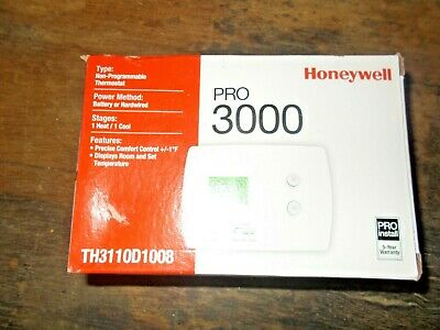 QTY 3 Honeywell Thermostat Non-Programmable 1H/1C Pro 3000 TH3110D1008=BRAND NEW