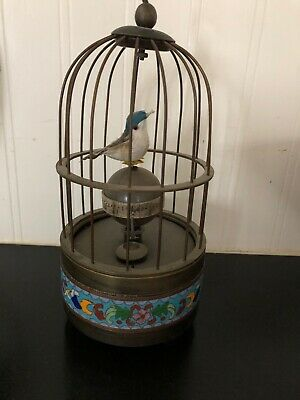 Antique Bird Cage Clock with unusal decorative band - Movement Working!