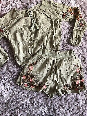 Matalan Embroidered Green Shorts And Top Outfit 8 Bnwt
