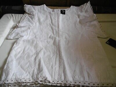 BNWT Girls White Woven Top 3-4 Years