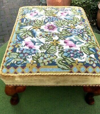 Colourful Rectangular Footstool~Floral Tapestry & Velvet~Wooden Supports