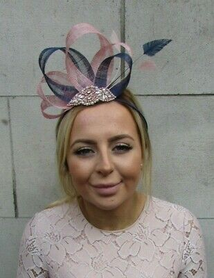 Rose Gold Dusky Blush Pink Navy Blue Fascinator Feather Sinamay Races Hair 7889