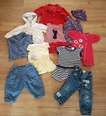 Bundle of Girls Clothes Jacket Dresses Hoodie Trousers Tops - Age 9-12 Months