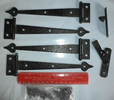 Vintage Set 4 Strap Style Hinges & Door Latch Hook Black Early American Style+