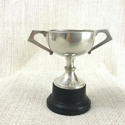 Vintage Miniature Trophy Silver Plated Cup Mounted Twin Handled Blank