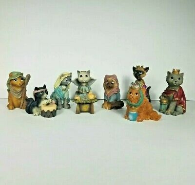 Cat Christmas Nativity Set Of 9 Resin Cat Figurines