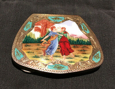 Vintage Enamel Hand Painted, 800 Silver Beautifully Engraved Compact: Two Graces