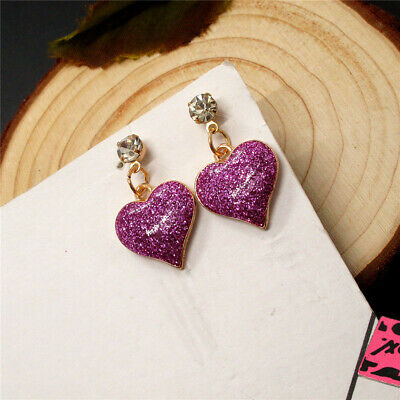 Hot Betsey Johnson Pink Enamel Love Bling Heart Crystal Bow Wonmen Earrings