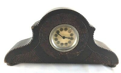 Hand Carved Wooden Vintage Mantle Clock German