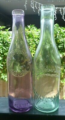 Pair of sauces - Aqua MACROBSERTSON'S and amethyst McEWIN & CO ADELAIDE