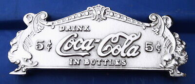 "Coca Cola Cash Register Sign Antique Style 1//4"" Metal Patina PaperWeight Vg//Ex!!"