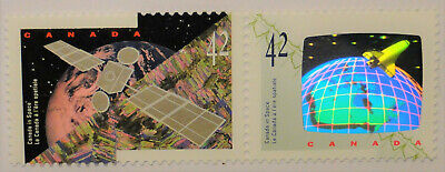 "1992 Canada in space ""Satellite"" ""Space shuttle"" MNH 2 stamps laser hologram"