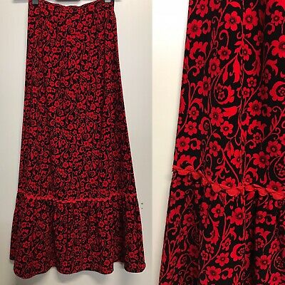 Red Black Velvety Cord Floral vintage Maxi Skirt 1960s 1970s Fashion