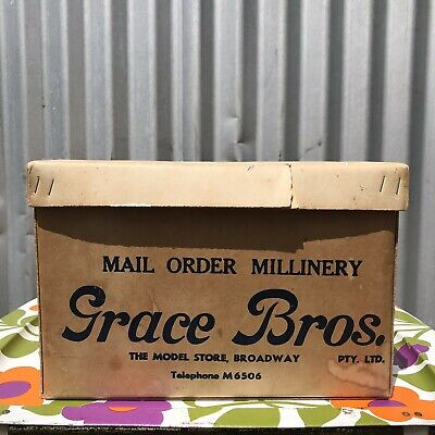 GRACE BROTHERS BROADWAY Department Store Hat Box Vintage Packaging 1950s 1940s