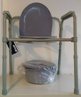 Drive Medical Steel Folding Toilet Commode Seat Chair Brand New