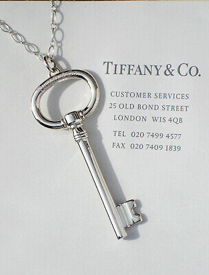 Tiffany & Co Extra LARGE 2.5 Sterling Silver Oval Key on Oval Link Necklace