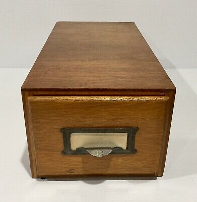 Vintage Wooden Card Filing Box Drawer - E & A Products Library Industrial Office
