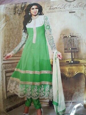 Asian Dress Semi Stitched Green