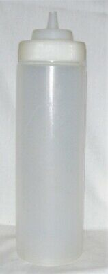 24oz WIDE MOUTH SQUEEZE BOTTLE SQUIRT CLEAR WHITE PLASTIC BBQ SAUCE CONDIMENT