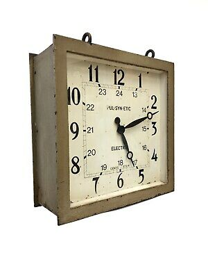 Antique Industrial Double Sided Gents Of Leicester Railway Factory Square Clock