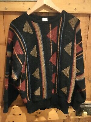 Retro 80's St Michael black abstract jumper, batwing sleeves, M, VGC