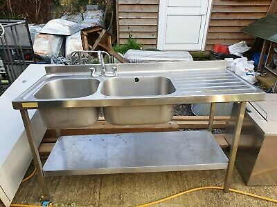 stainless steel double bowl catering sink right hand drainer sissons