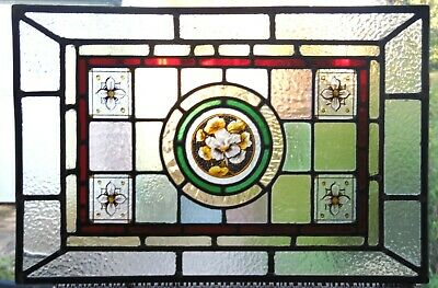 GENUINE ANTIQUE HAND PAINTED STAINED GLASS PANEL - REF SG412 see my other panels