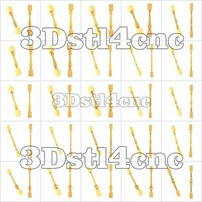 25 3D Models STL for CNC Router Artcam Aspire New Baluster Decor Cut3D Vcarve