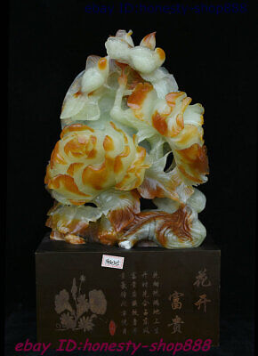 Chinese Dushan Natural Xiu Jade Hand-Carved Subshrubby Peony Flower Bird Statue