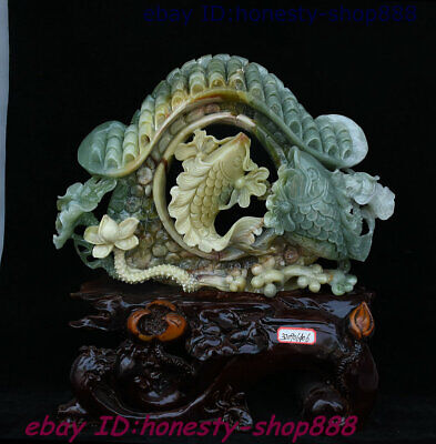 A Unique Chinese Dushan Natural Xiu Jade Carved Fish Door Home Auspicious Statue