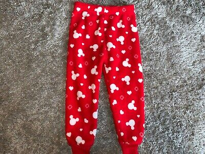 Girls Clothes red fleece pj bottoms Mickey Mouse motifs age 2-3 years