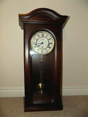 Hermle Wooden Mechanical  Wall Clock-Westminster Chime-Mahoghany Finish-Used-VGC