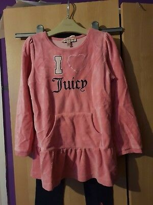 Girl's Juicy Couture Velour Sweat Leggings and Jumper Outfit Sz 5
