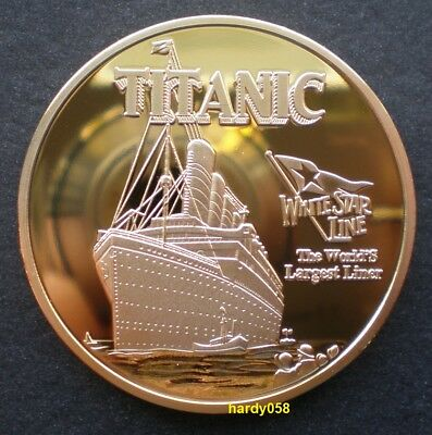 """💥 Titanic """"White Star Line Flag"""" Commemorative Proof coin Gold Plated 1oz"""