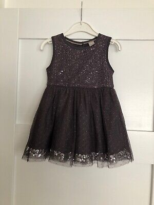 Tu Baby Girls Grey Sparkly Christmas Party Occasion Dress Age 1-1.5 Years 12-18m