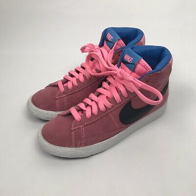 Nike Blazer High Top Trainer Shoes Pink&Blue Black Swoosh Size Uk 3 Kids Girls