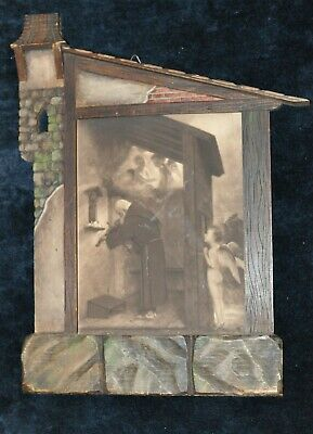Unusual Castle brick house tramp art hand carved Black Forest Picture frame