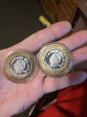 2- Caesars Palace Limited Edition $10 Ten Dollar Silver 999 Round Gaming Tokens