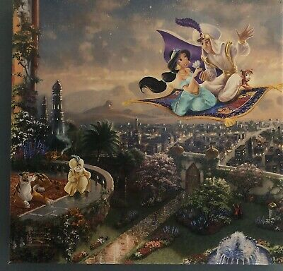 Thomas Kinkade Studios Disney Aladdin 14 x 14 Gallery Wrapped Canvas With COA