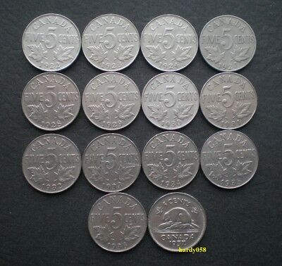 ★ 1922 - 1937 Canada 5 Cents Nickel Coins (George V & GVI) 14 Different Dates