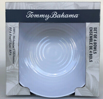 "Tommy Bahama Pearl White Rope Pattern Melamine Salad Soup Bowls 7"" Set of 4"