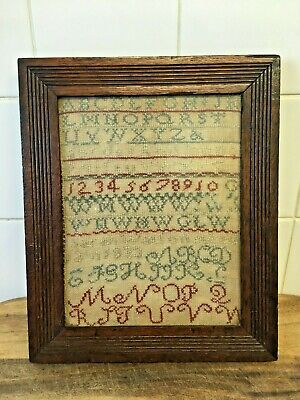 Small Antique 19th Century SAMPLER Oak Framed & Glazed