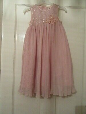 Girls Age 3 Years Pink Sequin Pleated Party Dress