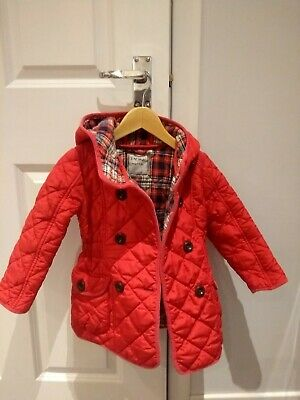 NEXT girls red quilted coat jacket with hood size 3-4 years