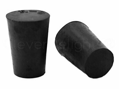10 Pack - CleverDelights Solid Rubber Stoppers | Size 0 | 17mm x 13mm - 24mm