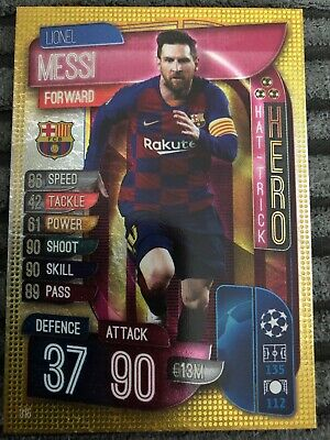 Match Attax CL 2019/20 LIONEL MESSI Hat-Trick Hero No.315 Topps Barcelona
