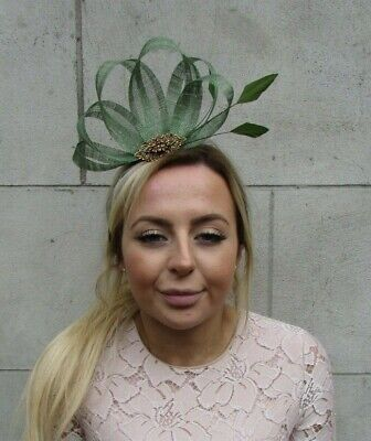 Olive Moss Green Bronze Sinamay Pheasant Feather Fascinator Hair Headpiece 7895