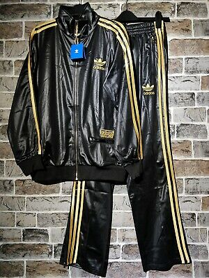 NEW* SMALL ADIDAS CHILE 62 FULL TRACKSUIT GOLD WET LOOK