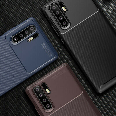 Luxury Premium Carbon Fibre Soft TPU Silicone Case Cover for Huawei P20 P30 Pro